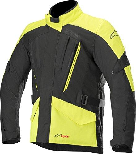 Alpinestars Chaqueta moto Volcano Drystar Jacket Black Yellow Fluo, Negro/Amarillo, XL