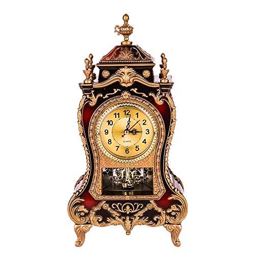 Fugeruisi Vintage Retro Schreibtisch Uhr, Antike Uhr, Europäischen Stil Wanduhr Barocke Retro-Stil,für Wohnzimmer Dekorative,Home Hotel Dekorative, Schreibtisch Wecker