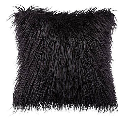 BESPORTBLE Cojín de lana de imitación, funda de almohada mullida negra Funda de almohada mullida Funda de almohada 45x45CM(sin núcleo de almohada)