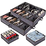 Anyoneer Set of 4 Under Bed Shoe Storage, Drawer Organizer, Adjustable Dividers, Extra Large, Sturdy Handles, Stainless Steel Zipper, Fits 24 Pairs Total - Underbed Storage Solution, Gray