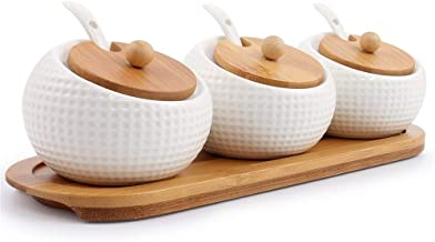 Porcelain Condiment Jar Spice Container with Lids - Bamboo Cap Holder Spot, Ceramic Serving Spoon, Wooden Tray - Best Pottery Cruet Pot for Your Home, Kitchen, Counter. White,170 ML (5.8 OZ), Set of 3