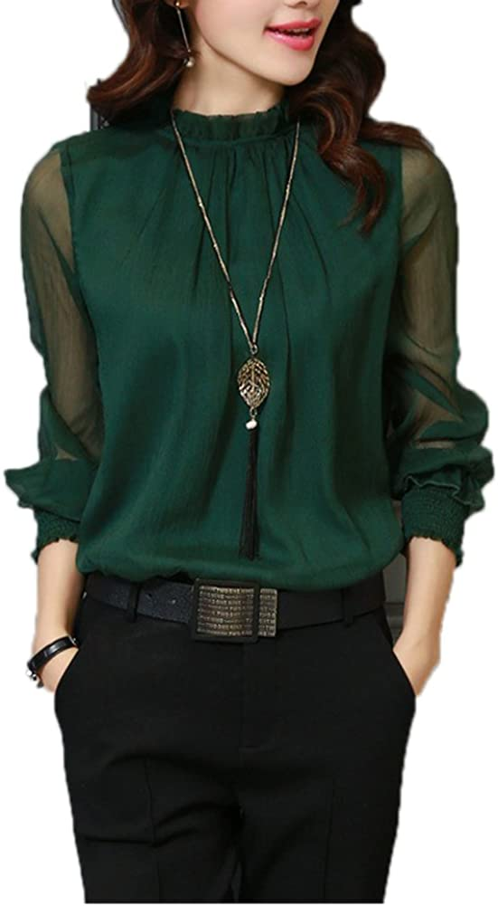 Queenlife Womens Casual Chiffon Shirt Network Yarn Lotus Leaf Long Sleeve Blouse Tops