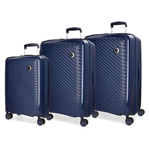 Movom Tokyo Juego de maletas Azul 55/66/78 cms Rígida Polipropileno Cierre TSA 218L 4 Ruedas Dobles Equipaje de Mano