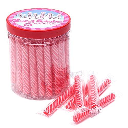 Sweet Spindles Mini Hard Candy Sticks - 50-Piece Jar (Pink)