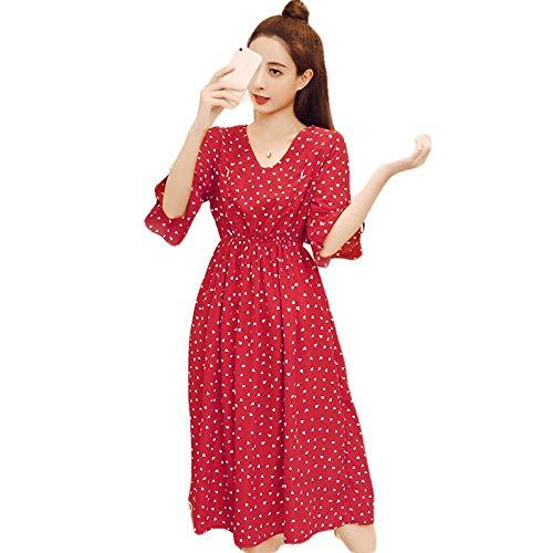 SATIWHYU Umstandskleidung Damen-Kleider Rundhals Bedrucktes Chiffonkleid Sommerkleid Umstandskleid Umstandskleid - H_M