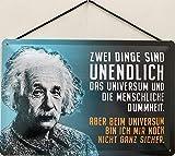 Blechschild mit Kordel 30 x 20 cm Albert Einstein: Zwei Dinge sind unendlich, das Universum und die menschliche Dummheit. - Blechemma
