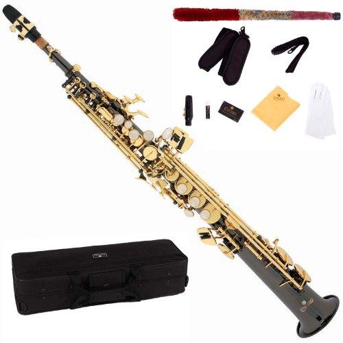 Cecilio SS-280BNG - Saxofón soprano (para nivel principiante, níquel), color negro y dorado