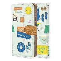 FFANY ZenFone 4 ZE554KL 用 手帳型 カードタイプ すまほケース サマー・グリーン ステッカー風 ビーチ 海水浴 ASUS アスース ゼンフォン フォーSIMフリー けーたいケース 携帯カバー カード収納 スタンド式 summer aay_210384c