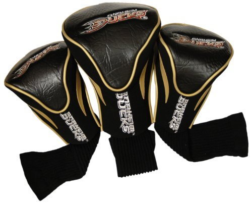 Team Golf NHL Anaheim Ducks Contour Golf Club Headcovers (3 Count), Numbered 1, 3, & X, Fits Oversized Drivers, Utility, Rescue & Fairway Clubs, Velour lined for Extra Club Protection