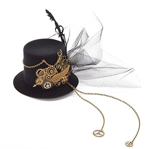 BLESSUME Steampunk gótico Mini Sombrero de Copa Retro Mujer Sombrero Pinza para el Cabello (A)