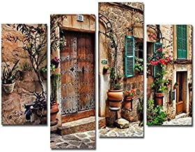 4 Panel Tuscany Wall Art Streets of Old Mediterranean Towns Flower Door Windows Paintings..