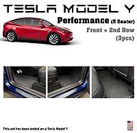 YelloPro カスタムフィットフロアマットセットアクセサリー – 2020 TeslaモデルYパフォーマンス対応 – 5シーター – 防水 全天候 – 高耐久ブラックラバー [アメリカ製]
