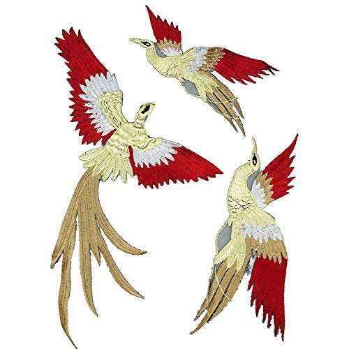 Iron on Patches/Sewing Patch,Patches for Clothes,Embroidery Applique,3pcs Phoenix Birds 25 * 10cm
