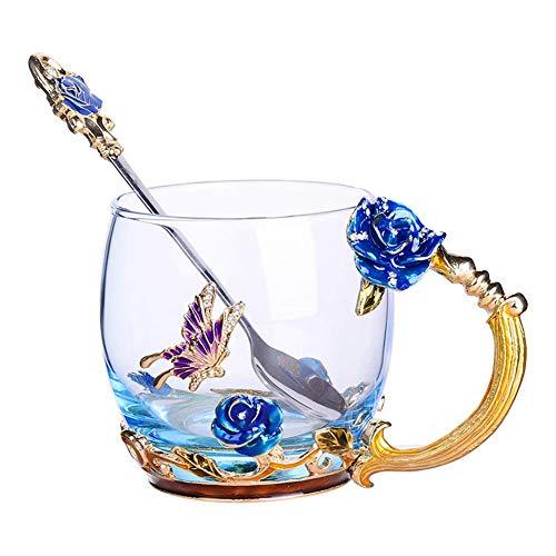 Glass Flower Tea Cups Enamel Coffee Mug with Spoon Butterfly and Rose Tea Mug Ideal For Women Mom Grandma Wife and Friend Wedding Anniversary Birthday, 11oz
