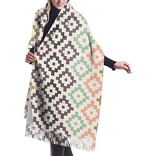 Elaine-Shop Damenschal Tribal Geometric Navajo Southwest Boho Kinderzimmer Diamanten Classic Tassel Plaid Schal Herbst und Winter Warmer Schal