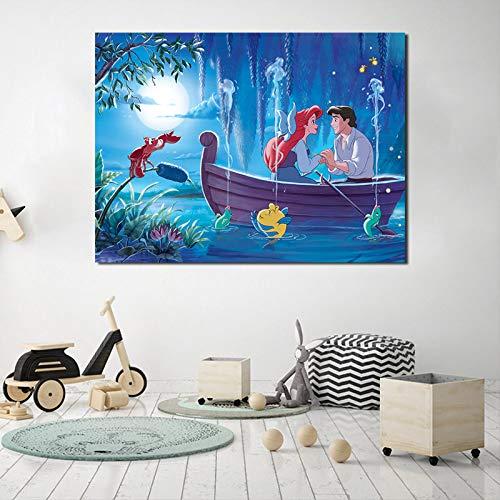 YIYEBAOFU DIY Pintar por números Little Mermaid Wallpaper Mural Princess Ariel Impresión en Lienzo Arte de la Pared Pintura Decoración Pintura Decoración del hogar Obra de40x50cm(Sin Marco)