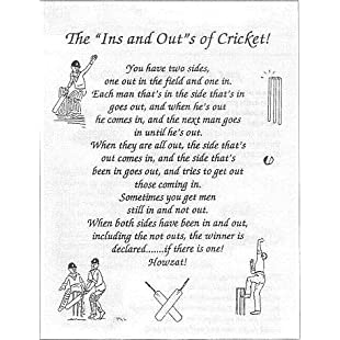 """'The """"INS"""" and """"OUTS"""" of Cricket' Tea Towel 100% Cotton:Seks-irani"""