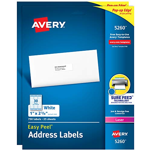 Avery Address Labels with Sure Feed for Laser Printers, 1' x 2-5/8', 1500 Labels (2-Pack 5260)