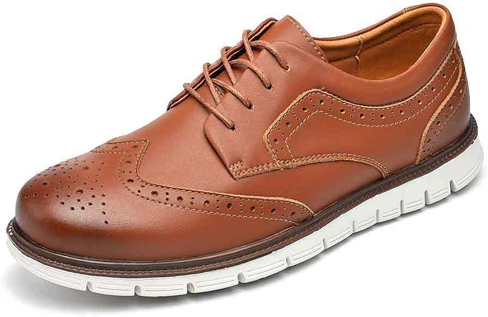 UPIShi Men's Hybrid Brogue Oxford Leather Lace-up Wingtip Dress Shoes