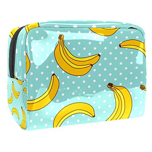 Bolsa de maquillaje portátil con cremallera bolsa de aseo de viaje para mujer, práctico almacenamiento cosmético de plátano y lunares