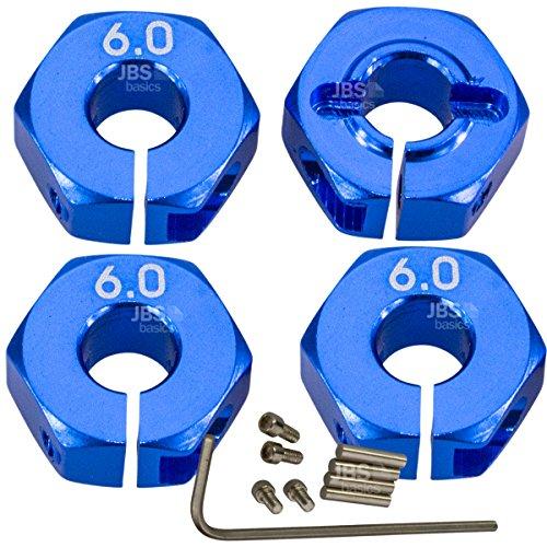 JBS basics ] Aluminium Radmitnehmer 12 mm HEX [ 4 mm, 5 mm, 6 mm, 7 mm, zum Schrauben ] Sechskannt 4 Stück 1:10 1/10 Vorne Hinten [ mit Schlüssel ] Radaufnahme Felgenaufnahme Adapter (6 mm, Blau)