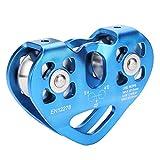 Dioche Seilrolle Kletterrolle, 30KN Dual Flaschenzug Seilrettungs Rettungsseilbahn Outdoor Kletterausrüstung(Blau)