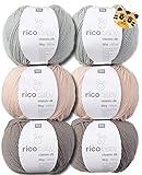 Woll-Set Babywolle Rico Baby Classic 6x50g #5, Strickpaket, Häkelpaket mit Tigerknopf, weiche Wolle zum Stricken und Häkeln