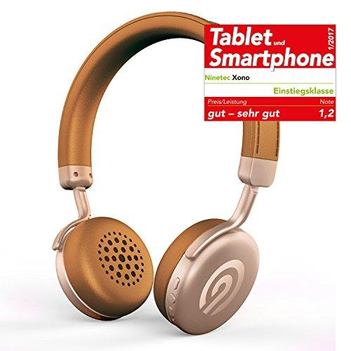 NINETEC Xono Wireless Bluetooth Stereo Bügel-Kopfhörer Headset HiFi Headphone Braun-Gold