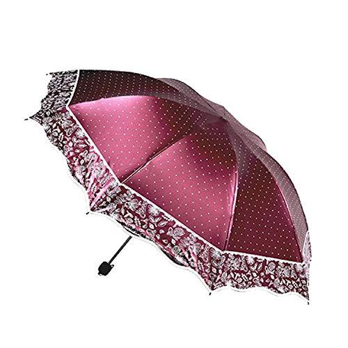 Regenschirm Kompakt, Reise Umbrela Anti-UV Sonnenschirm, Sonnenschirm Weiblicher Randes Welle Geeignet Für Outdoor & Business