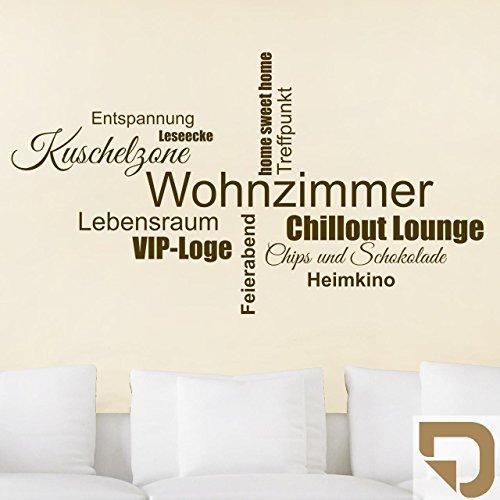 DESIGNSCAPE® Wandtattoo Wohnzimmer Wortwolke 160 x 89 cm (Breite x Höhe) hellbraun DW803281-L-F10