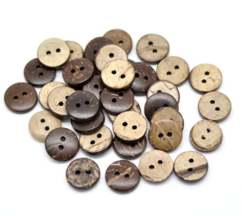 PEPPERLONELY Brand 200PC Brown Coconut Shell Buttons 2 Hole Scrapbooking Sewing Buttons 13mm (1/2 Inch)