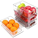 AROVA Set of 4 Fridge Organizer, Premium Acrylic Refrigerator Organizer Bins for Fruit & Soda Drink, BPA-Free Clear Pantry Containers Organizer Storage Organization Bins for Fridge & Refrigerator