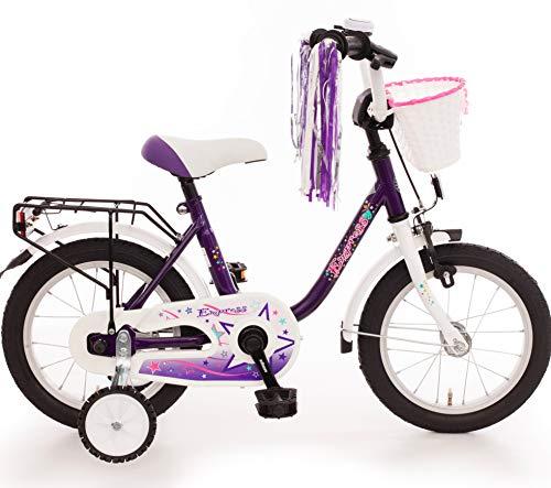 Empress Kinderfahrrad 14 Zoll Fahrrad für Kinder Mädchen Kinderrad Mädchenfahrrad Lila