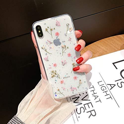 Bakicey iPhone Xs Hülle, iPhone X Handyhülle Getrocknete blumen Kristall Gel Schutzhülle Superdünn Handgefertigt Immerwährende Blume Bumper Hülle Cover Schale Schutz hülle für iPhone Xs/iPhone X(E)