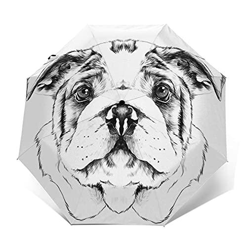 Paraguas Plegable Automático Impermeable Raza de Perro Bulldog Americano, Paraguas De Viaje Compacto A Prueba De Viento, Folding Umbrella, Dosel Reforzado, Mango Ergonómico