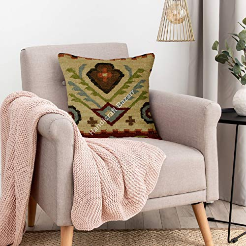 Handicraft Bazarr 18'' Moroccan Wool Decorative Pillow Case Jute Zipper Cushion Case Indian Traditional Bed Pillow Case Sofa Decor Home Reversible Pillow Throw Lumber Hessian Maternity Cushion Cover