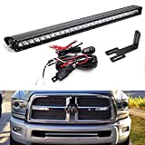 iJDMTOY Lower Grille Mount 30-Inch LED Light Bar Compatible With 2003-2018 Dodge RAM 2500 3500, Includes 150W High Power CREE LED Lightbar, Lower Bumper Opening Mount Brackets & On/Off Switch Wiring