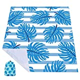 Beach Blanket Oversized 87 x 65 Inch Sand Free Waterproof Quick Dry Beach Mat Outdoor Picnic Blanket with Portable Storage Bag for Beach Picnic Camping Travel Hiking (Blue White)