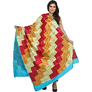 Exotic India Phulkari Hand-Embroidered Dupatta from Punjab - Color River BlueColor One Size fits Most
