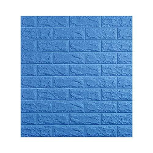 WHYBH HYCSP Selbstklebende Tapete Wasserdichten TV Hintergrund Wandsticker Wohnzimmer Tapete Schlafzimmer Dekoration Ziegel Tapete (Color : Blue, Size : 70cmx77cm)