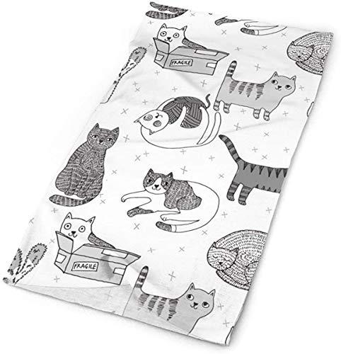 NA Kat Stof Leuke Katten Kitten Huisdieren Ontwerp Door Andrea Lauren - Grijze Hoofdbanden Bandana Cap Sjaal Gezicht Masker Nek Hoofddoek Zon UV Bescherming
