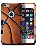 MYTURTLE Shockproof Hybrid Case Hard Silicone Shell High Impact Protection Package Including [9H Flexible Nano Glass Protector] Full Body Cover for iPhone 6s, iPhone 6, Ball Sports Basketball