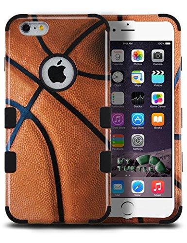 MYTURTLE Stoßfeste Hybrid-Schutzhülle aus hartem Silikon, hoher Aufprallschutz, Paket inklusive [9H flexibler Nano-Glas-Schutz], Ganzkörper-Abdeckung für iPhone 6S, iPhone 6, Ballsport, Basketball