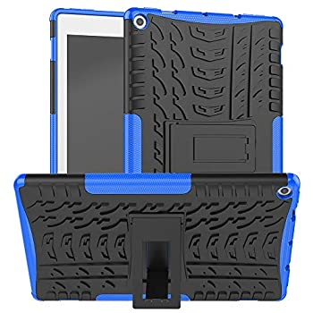 ROISKIN for Amazon Kindle Fire HD 10 inch Tablet Case 9th Generation 2019 Release 7th Generation 2017 Release with Kickstand Dual Layer Shockproof Protective Case Cover,Blue