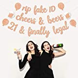 21st Birthday Decorations Party Supplies,Rose Gold(Pink) Glitter Banner for 21 Birthday Party Anniversary,Set of 3-'Rip Fake ID ''Cheers to 21 Years' 'Finally Legal'