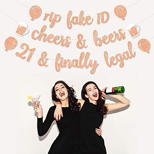21st Birthday Decorations Party Supplies?Rose Gold(Pink) Glitter Banner for 21 Birthday Party Anniversary,Set of 3-Rip Fake ID Cheers to 21 Years Finally Legal