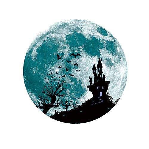 Wandaufkleber Leuchtende Mond Wandtattoo DIY Halloween Deko Luminous PVC Removable Wall Sticker Startseite Dekoration Fluoreszierender Fledermaus Hexe Glow In Dark Decal Decor 30Cm