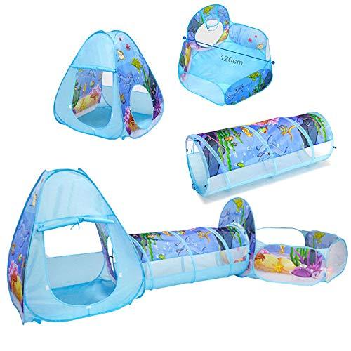 Kinder-Spielzelt und Tunnel, 3-in-1, Kleinkinder, Krabbeltunnel, Spielhaus, Bällebad, Faltzelt mit Reißverschluss,Baby-Spielzeug,Geschenke für Kinder, Mädchen, Jungen, Innen- und Außenbereich