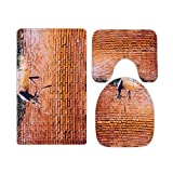 liuyunfeiyu Rustic Brick Wall and Reindeer Bathroom Rugs and Mats Sets 3 Piece, Memory Foam Bath Mat, U-Shaped Contour Shower Mat Non Slip Absorbent, Velvet Toilet Lid Cover Washable-one_Color-