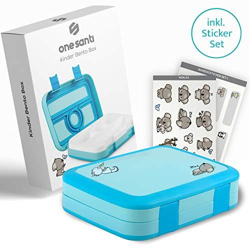 ONE SANTI Bento Box Kinder - Blaue Jausenbox mit tollen Stickern - Brotbox für Kinder mit Unterteilung - Praktische Brotdose für Kindergarten & Schule